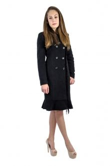 Palton negru cu franjuri