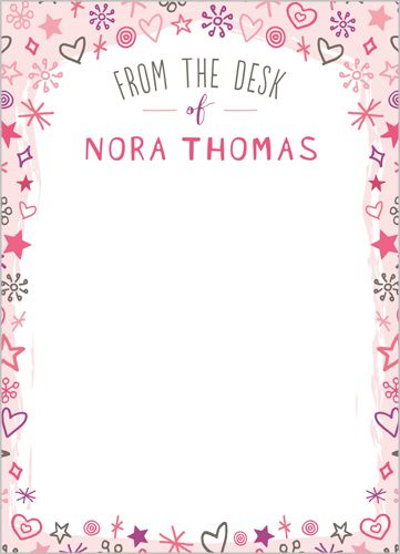 Custom Notepad with Image: Delightful Doodle 5x7, Square, Pink