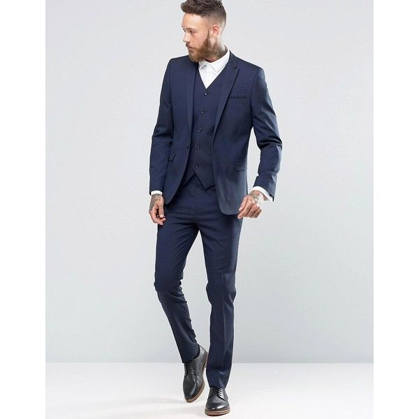 ASOS Skinny Suit Trousers In Navy ($41) ❤ liked on Polyvore featuring men's fashion, men's clothing, men's pants, men's dress pants, mens navy dress pants, mens polyester dress pants, mens skinny dress pants, mens stretch dress pants and mens zip off pants