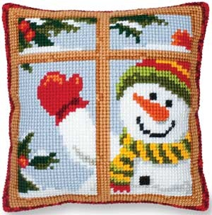 Snowman Hello Pillow, big-stitch needlepoint