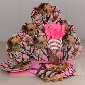Pink Camo party plates, cups, napkins, a table cover and pink cutlery enouch for 8 birthday party guests.