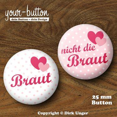 Button Junggesellinnenabschied / JGA / Hochzeit  Du planst einen Junggesellinnenabschied für deine Freundin?  Die üblichen Junggesellinnenabschieds-T-Shirts sind euch aber zu plakativ?  Dann tragt doch einfach einen Button!  Passt garantiert bei jeder Konfektionsgröße, spart Geld und ist dezent.   Der Preis pro Button beträgt 2 € (Button-Größe 25 mm).  Auf Wunsch kannst du die Buttons auch als 32 mm große Buttons bekommen, der Preis pro Button beträgt dann 2,50 €.