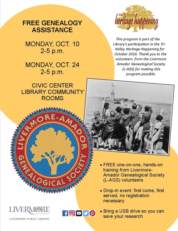Free Geneaolgy Assistance This program is part of the Library's participation in the Tri Valley Heritage Happening for October 2016. Thank you to the volunteers  from the Livermore Amador Genealogical Society (L-AGS) for making this program possible.  FREE one-on-one, hands-on training from Livermore-Amador Genealogical Society (L-AGS) volunteers.  Drop-in event: first come, first served, no registration necessary.  Bring a USB drive so you can save your research.  Civic Center Library Co