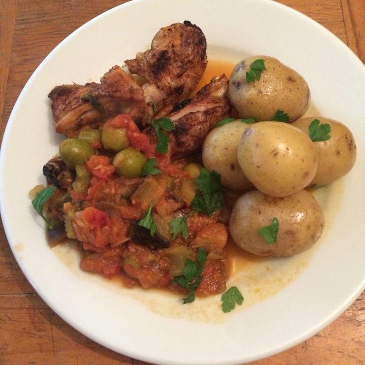 Chicken, caponata, baby potatoes