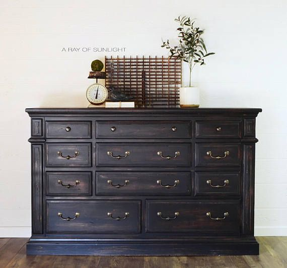 Black 11 Drawer Dresser Farmhouse Rustic Buffet Painted Dining Furniture Makeover Rustic Dining Furniture Painted Furniture
