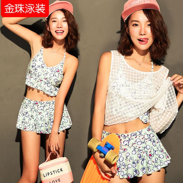 South Korea Bikini Swimsuit female conservative thin chest spa significantly gather smock Bikini three piece swimsuit US $61.30 Specifics Material	Polyester Pattern Type	Animal Waist	Low Waist Support Type	Wire Free With Pad	No Gender	Women Item Type	Bikinis Set Color classification	Mobile phone order is more favorable, light green, red The article number	Y607 Style	Skirt bikini  Click to Buy :http://goo.gl/t9O329