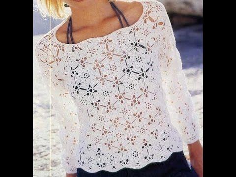 Suéter Blanco y Hermoso a Crochet - YouTube