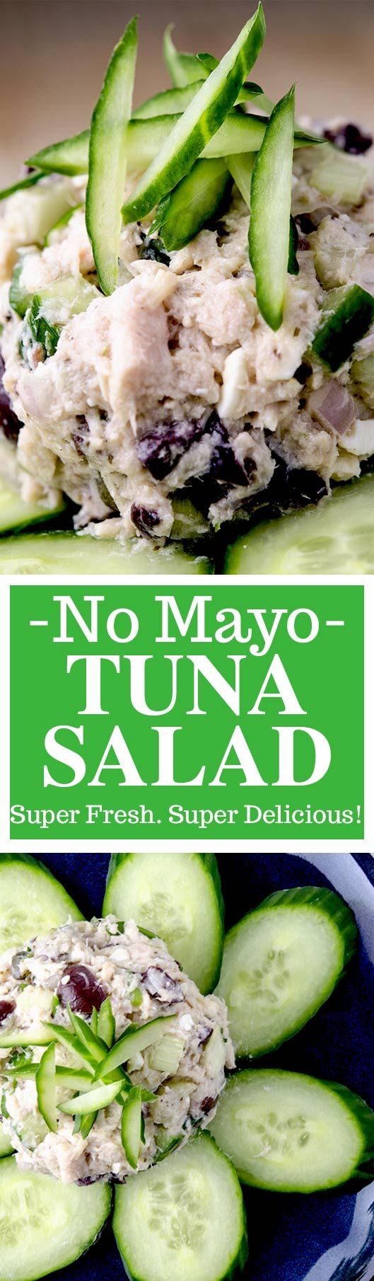 If you're searching for easy low-carb basic recipes, you came to the right place. Here's the best no-mayo Mediterranean tuna salad! Canned tuna is a very healthy fish and it goes well with many ingredients. Give it a try and experiment, see what combinations you like! If you can have gluten, put the salad in a wrap, but have some tissues close for the juice. Or put it between two slices of bread and you got a tuna sandwich! Give it a try!