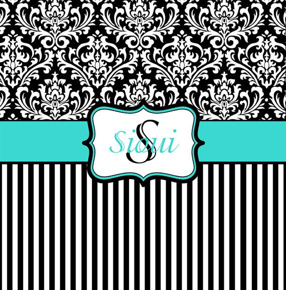Tiffany blue black and white damask shower curtain for Black white damask wallpaper mural