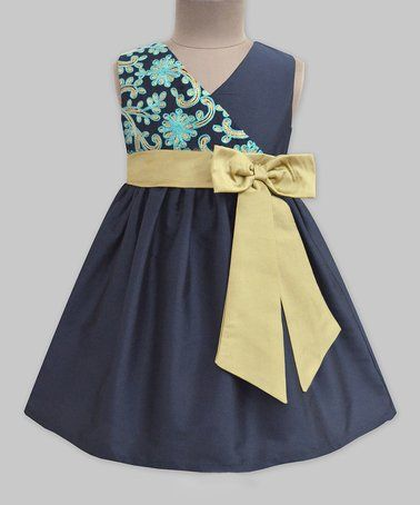 Blue & Gold Floral-Accent A-Line Dress - Infant, Toddler & Girls #zulily #zulilyfinds