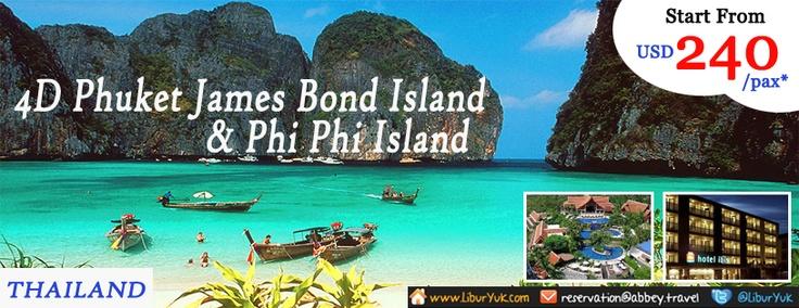 Penasaran dengan phuket?pulau yg kaya akan keindahan alamnya.Kini kami sediakan paket 4D Phuket James Bond Island & Phi Phi.Booking sekarang juga dan dapatkan harga spesial.  Dapatkan Special Paket tersebut dari LiburYuk.com http://liburyuk.com/listpackage/4D+PHUKET+JAMES+BOND+ISLAND+%26+PHI+PHI atau kontak team reservasi kami di reservation@Abbey.Travel
