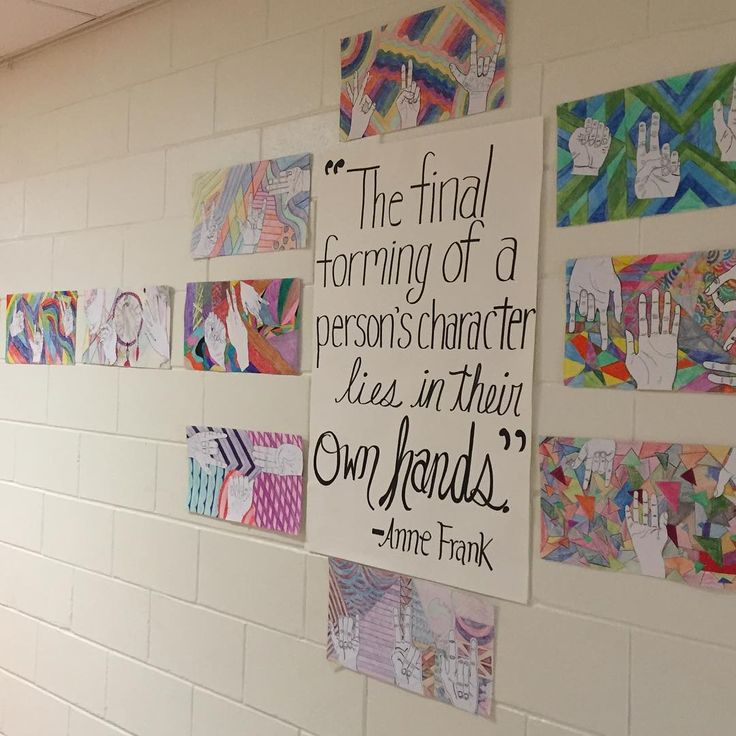 """""""The final forming of a persons character lies in their own hands"""" - Anne Frank - The perfect quote to showcase 8th grade's contour hand drawings and that deals with our positivity theme. #artteacher #middleschoolart #middleschoolartteacher #annefrank #positivity #contourdrawing"""