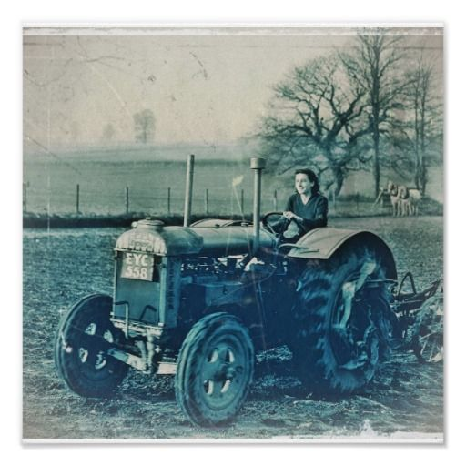 Land Army Woman Driving Tractor Print