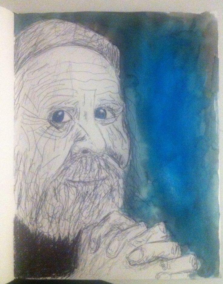 Oude man - ecoline en pen
