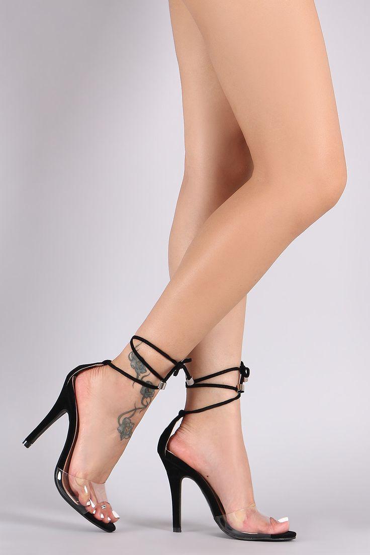 Lucite Peep Toe Ankle Tie Stiletto Heel