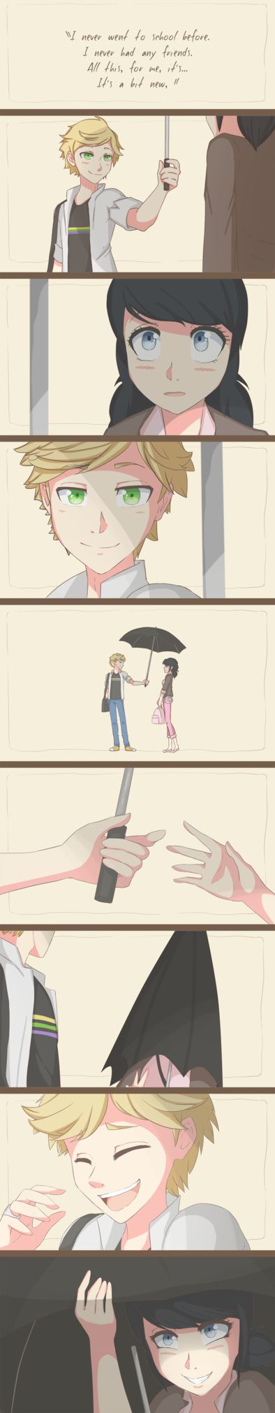 {Miraculous Ladybug} Umbrella Scene by Potates-Chan  This is really cute. I'd be so embarrassed.