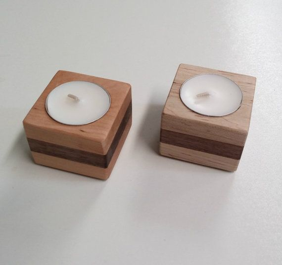 Set of 2 wood tea light candle holders by CasasWoodworks on Etsy