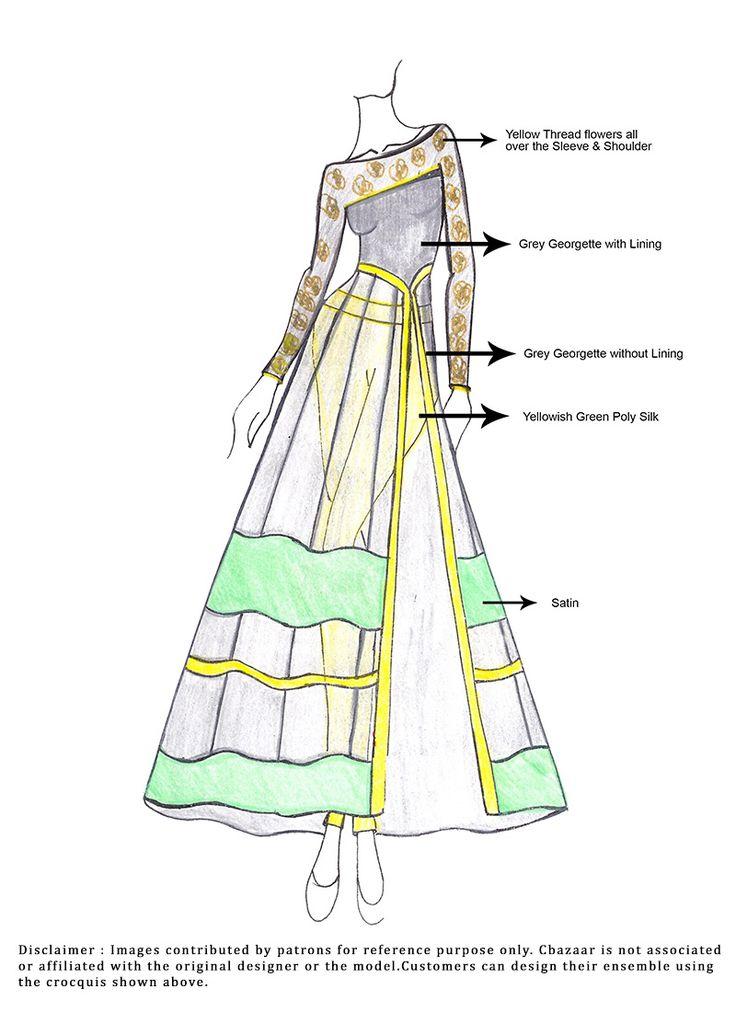 DIY Grey Georgette Anarkali Suit