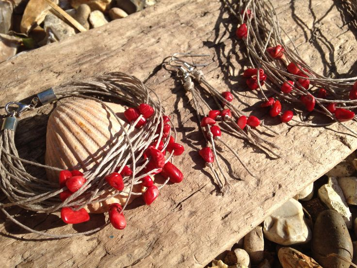 Set of Coral gemstones Handmade Bracelet, Necklace and Earrings by EffyBuu on Etsy