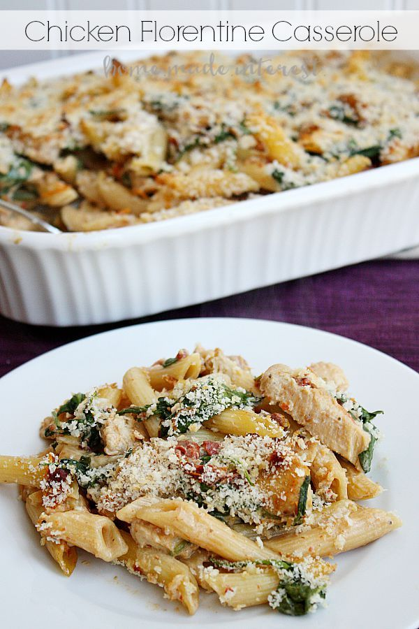 Chicken Florentine casserole is cheese, pasta, chicken and spinach, all combined to make one simple weeknight meal.