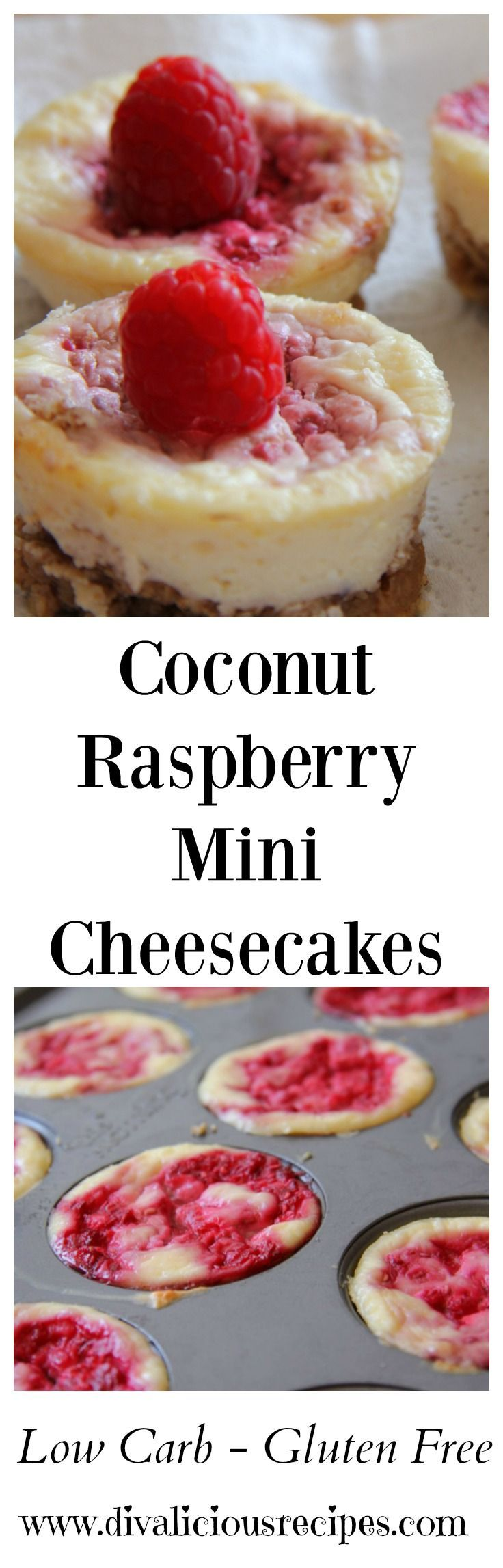 A coconut raspberry cheesecake that is low carb and gluten free. I love the flavour combination of coconut and raspberry so I put it in cheesecake form.