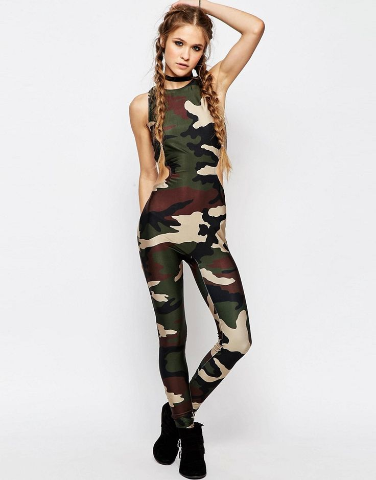 Image 1 of Jaded London Unitard Legging Jumpsuit Camo Print With Cut Out Detail