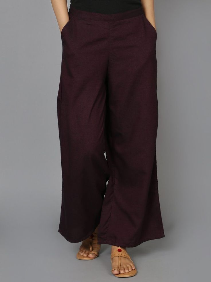 Maroon Cotton Palazzo Pants - The Wooden Closet