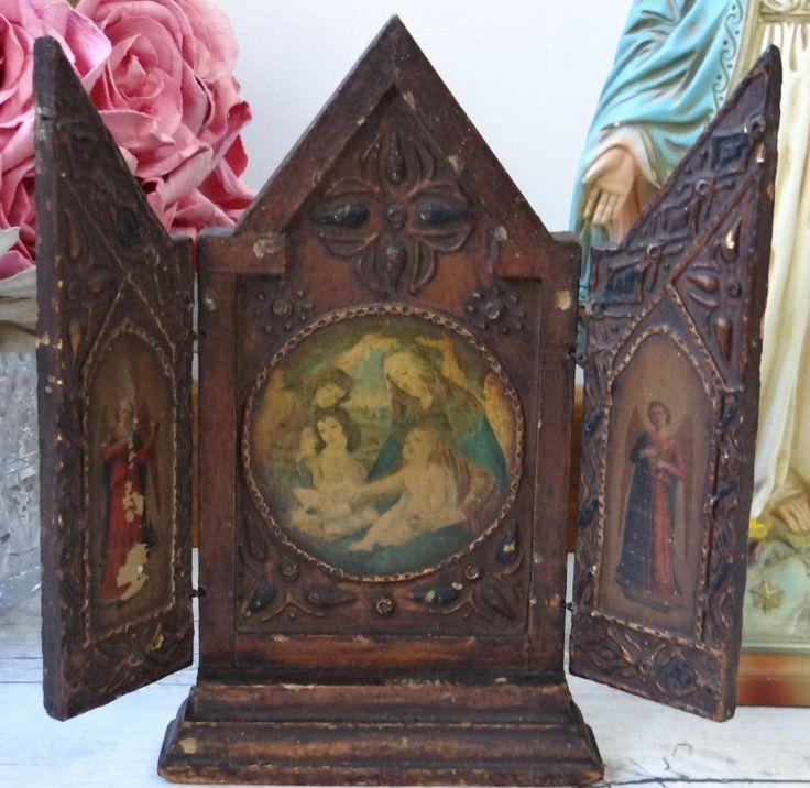 Beautiful Old Vintage Wood Florentine Triptych Angels Madonna Mary Baby Jesus | eBay