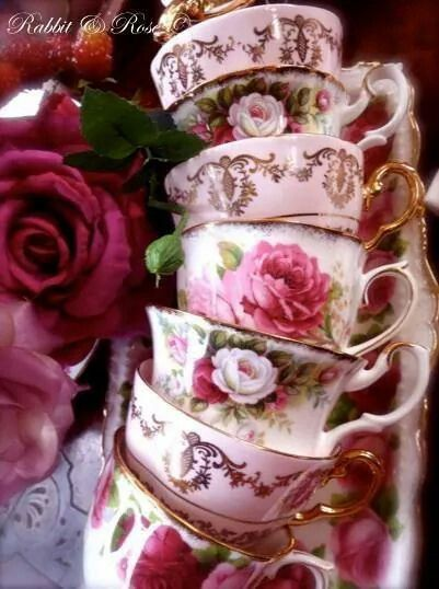 659 best images about tea cups on pinterest - Vajilla shabby chic ...