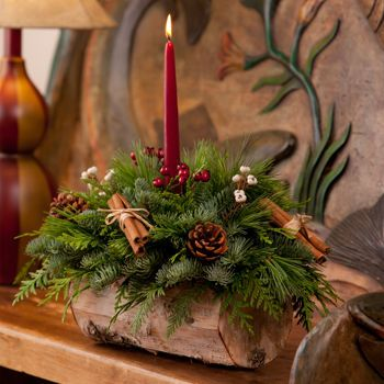 """Fresh Birch Log Centerpiece with Candle. $39. red Taper candle Birch Bark Log shaped container 10"""" L X 5"""" H Complimentary Gift Messaging Dimensions: Approximately 18"""" – 20"""" L X 10"""" H Weight: 9 lbs."""