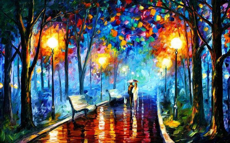 Beautiful abstract painting. I love the colors and the cheerful lighting. The name of the artist is Leonid Afremov!