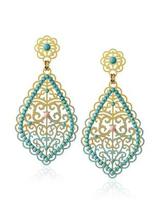 60% OFF LK Designs Turquoise Sparkling Small Leaf Decorated Earrings
