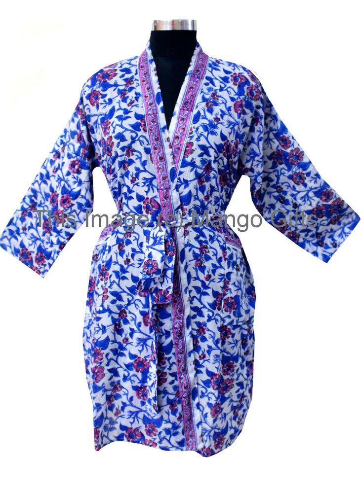 db2f04ff95 Indian Block Print 100%Cotton Spa Kimono Beach Cover-up Coat Sleepwear Long  Robe  Handmade  Kimono  Everyday