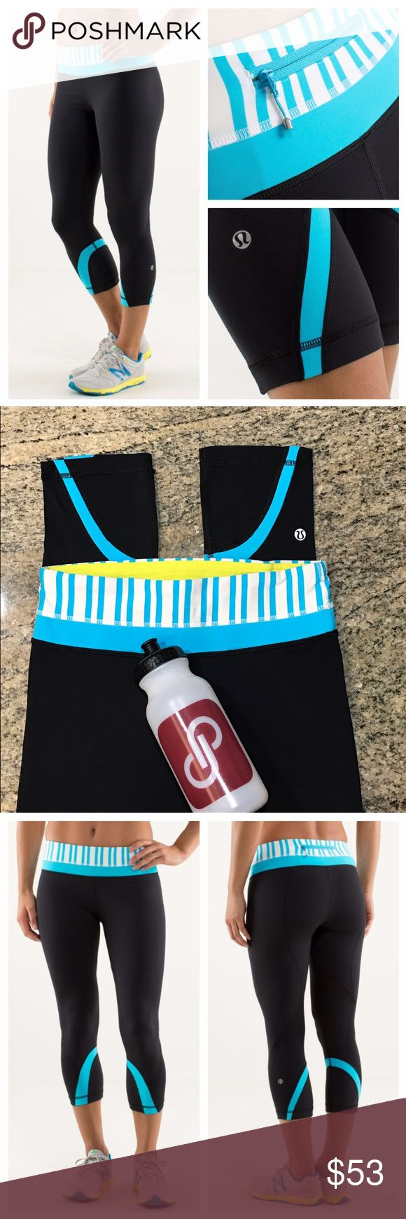 Lululemon Inspire Crop II Twin Stripe SpryBlue BLK When we're training hard on the track and the trails, we want to work up a serious sweat without grime sticking to our legs. These crops were designed out of inherently wicking fabrics so our skin stays dry and placed mesh panels behind the knees to helps us cool. back zipper pocket. Medium rise, tight fit. No size dot, size 4. Mess upon request. Excellent condition. Minor cracking of logo (pictured) All reasonable offers are welcome! Please…