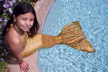 What my baby girl wants! This is so cool! I would love to see her swimming around in the pool with a mermaid tail.