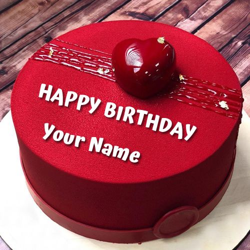 Joyeux anniversaire souhaite gâteau élégant coeur rouge avec Name.Print nom amoureux sur le gâteau …   – b.day