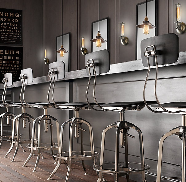Restoration Hardware Toledo stools. Saw these in Courtney Cox's kitchen. I just may do the same.