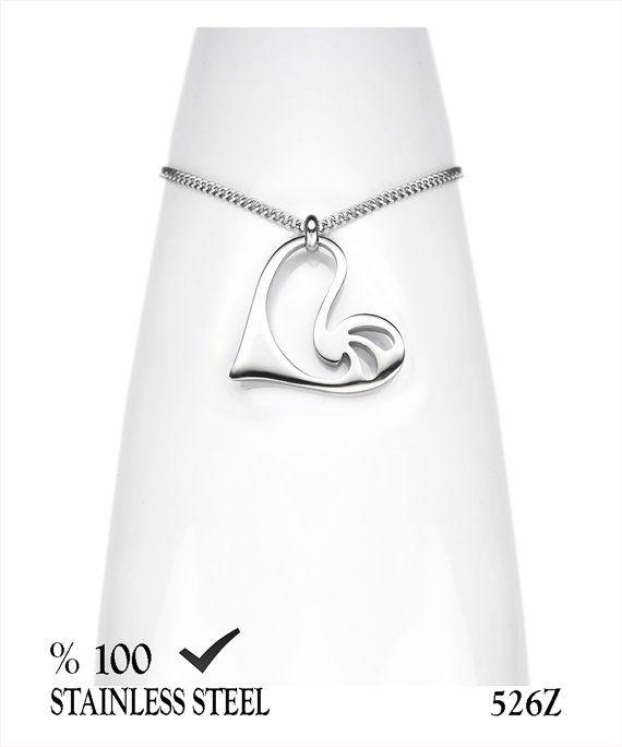 Axcesi 526Z Heart stainless steel pendant26x24mm   Black by Axcesi