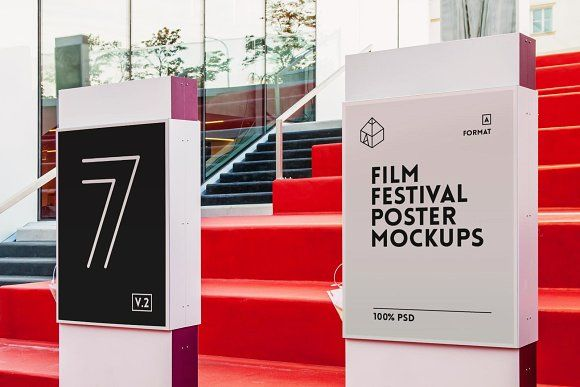Film Festival Poster Mock Ups 2 Mockup Free Psd Film Festival Poster Festival Posters