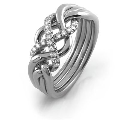 Ladies 4 band PLATINUM Puzzle Ring LP-4L-21D by PuzzleRING.com