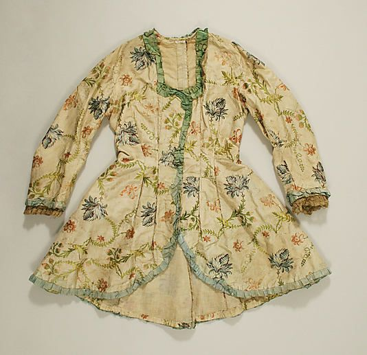 Jacket - 18th century - American/European  MET C.I.39.13.84  Appears to be printed cotton with silk trim and linen lining.  Lovely construction with many many piecings.