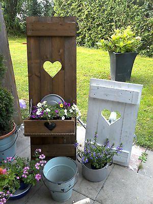 Shabby Fensterladen Herz Blumenkasten Garten Deko Holz Massiv
