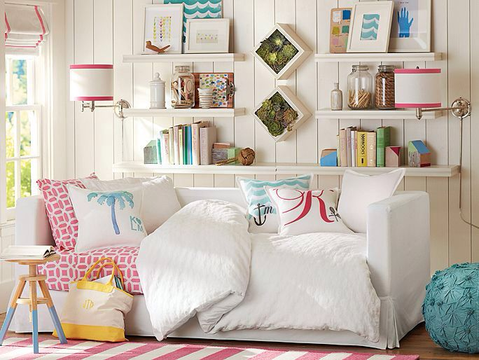 Beachy Day Bed Look. Like The Shelves And Lamps.