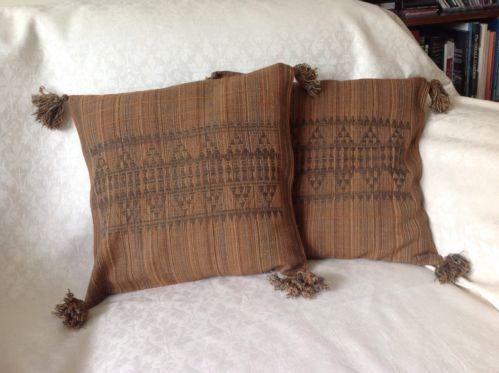 "New 2 brown Designer Cushion Covers 100% Wool Ethnic Jacquard pattern 16 x 16"""