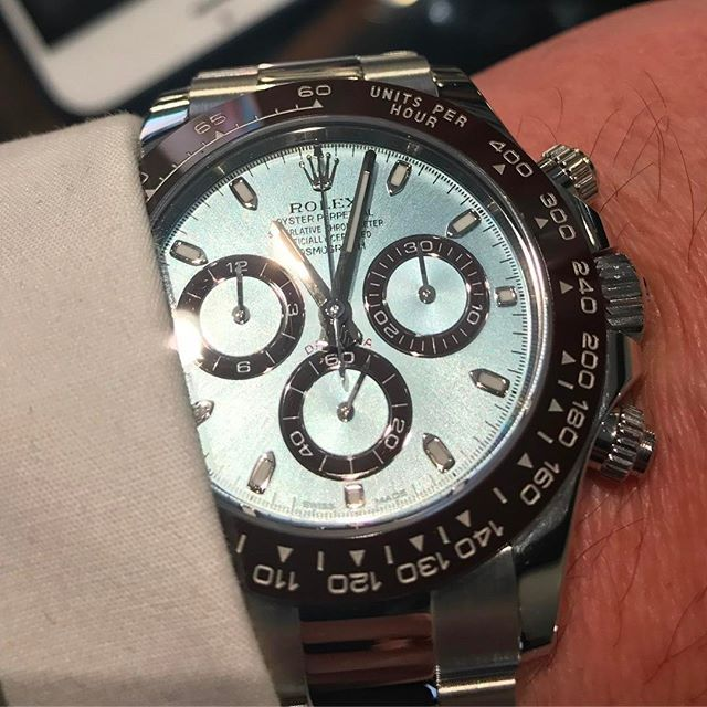 REPOST!!!  I think this is more me, a rather #beautiful #rolexdaytona in #platinum. I couldn't believe the #weight of this when I tried it on.  #understated and a lot more #refined so, if anyone would like to get me this one, I'd be a very #happy #chap! I'm lucky enough to own the #stainlesssteel version of this watch, but mine didn't cost £46,000!! #luxury #luxurylifestyle #luxurylife #luxurywatches #watch #rolex #rolexwatch #canarywharf #luxurybrand #timepiece #chronograph #stopwatch…