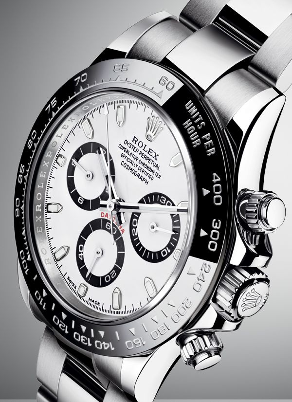 The Rolex Cosmograph Daytona in 904L steel with a black Cerachrom bezel.