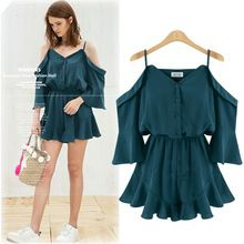 Estilo europeu off the shoulder chiffon mulheres plissadas suspensórios dress curto babados manga borboleta cintura elástica mini dress b220(China (Mainland))