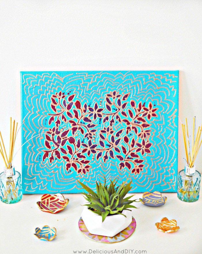 Stenciled Floral Wall Art Hometalk Spring Inspiration