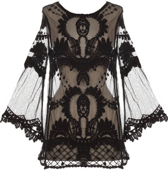 blackmetalnhate's save of Night Flight Top | Sheer Crochet Lace Kimono Tops | RicketyRack.com on Wanelo