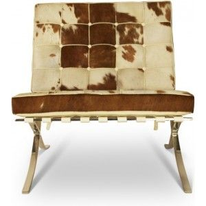 Gezien op Beslist.nl: Barcelona Chair cowhide bruin wit